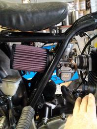 Shows 38mm Carb kit on bike